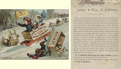 Victorian Trade Card - Racing in H. T. Babbitt Soap Box Sleds - Clear the Track