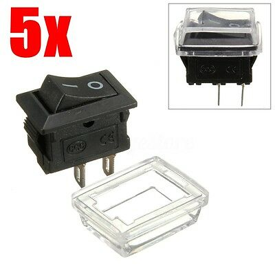 5Pcs On/Off Waterproof Rectangle Rocker Switch w/ Cover Car Dashboard Boat 12V