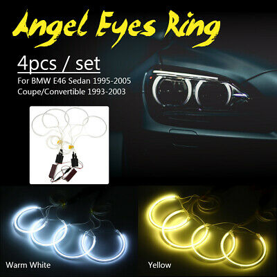 4x CCFL Angel Eye Halo LED Light White/ Yellow Non-Projector Kit For BMW E46 12V