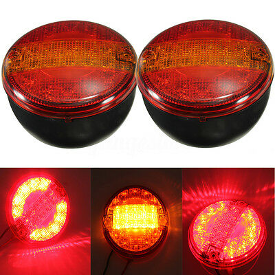 2x 12V 24V VOLT LED REAR ROUND HAMBURGER TAIL LAMP LIGHT LORRY TRUCK VAN TRAILER
