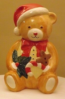 Christmas Bear with Santa Cap Gingerbread Man Candy Cane & Holly Cookie Jar