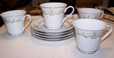 Towne House Fine China - Golden Regal 3223 - 4 Cups and Saucers