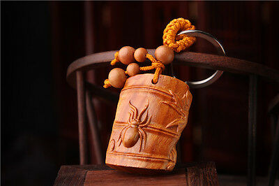 Wood Carved Chinese Spider Statue Contentment Sculpture Amulet Pendant Key Chain