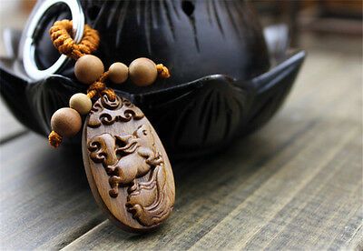 Wood Carving Chinese Horse Success Statue Sculpture Pendant Key Chain 马到成功