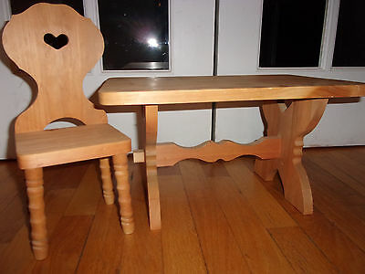American Girl Doll Trestle Table Wood Kirsten Pleasant Company + 1 Chair