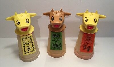 Vtg Lot Of 3 Whirley Industries Warren, PA Plastic Moo-Cow Creamer & Sippy Cups