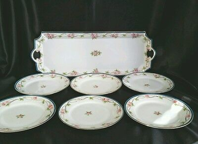 Nippon Dessert Service Set With Tray and 6 Dishes Hand Painted cherry blossom