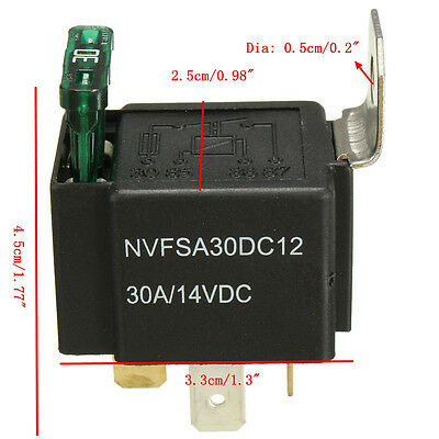 DC 12V 30A 4 Pin 4P Car Motor Automotive Boat Fuse Fused Relay  & Metal Bracket