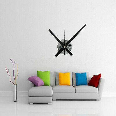 Fashion 3D Silver Vintage Mechanism Large Wall Clock Home Room Decoration Mute