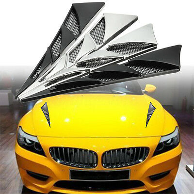Pair ABS Universal Car Decorative Air Intake Side Flow Hood Vent Cover Sticker