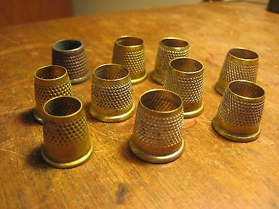 VINTAGE  10 THIMBLES  BRASS  SET GROUP  LOT  MANY NUMBERED SEWING Old  Antique