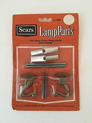Vtg SEARS LAMP PARTS Two Brass Finish Swag Hooks Fittings 34-7808 Hanging NIP