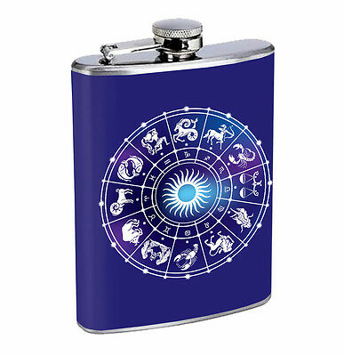 Flask Horoscope 01R 8oz Stainless Steel Hip Drinking Whiskey