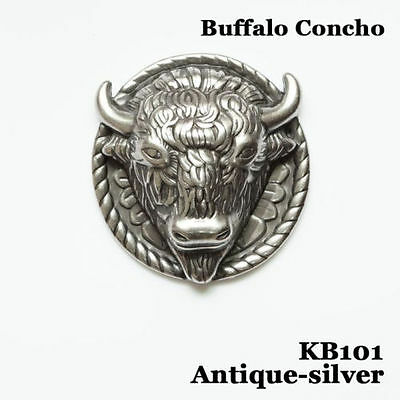 "【KB101】10pc 2"" Buffalo Concho Western Equestian Tack Leathercraft Antique-silver"