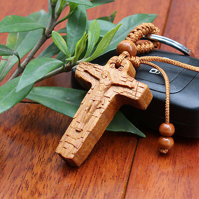 Jesus Christ Christian Cross Wood Carving Chinese Pendant Key Chain Keyring Craf
