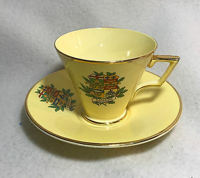 Vintage Royal Winton Grimwades Cup & Saucer Canada Coat Of Arms Yellow Gold Rim