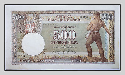 Serbia, 500 dinara 1942, WWII, German Occupation, P#31,