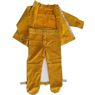 Heavy Duty Split Leather Welding Soldering Apparel Suit Welders Jacket Trousers