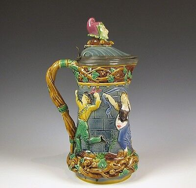 Antique Mintons Majolica large Pewter Mounted Jester Stein or Pitcher