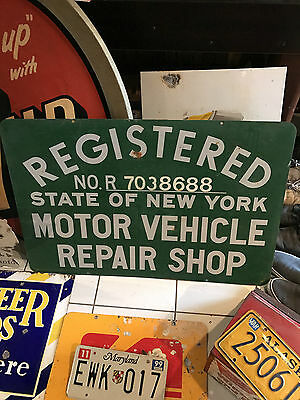 Rare Vintage Nys State Of New York Registered Motor Vehicle Repair Shop Sign