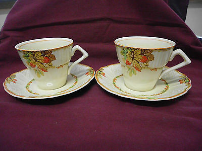 Bone China Art Deco Vintage Staffordshire Myott Duo Pair Autumn Leaves Ex Cond