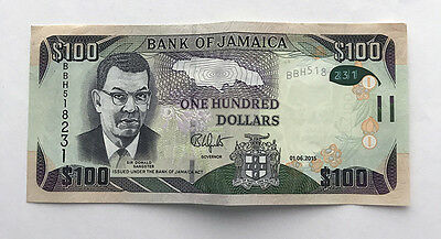 Jamaica 100 Dollars (2015) P-New Polymer Hybrid UNC (with crease in center)