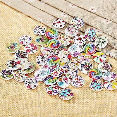 50x Wooden Buttons Flower Pattern Mix Color 2-hole Sewing Scrapbook Craft DIY