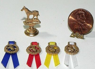 Dollhouse Miniature Trophy and Ribbon Set Horse Island Crafts 1:12 Scale