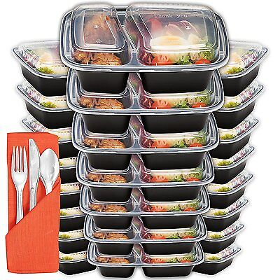 Meal Prep Containers 2 Compartment 24 Pack With Lids And Plastic Cutlery, 32oz