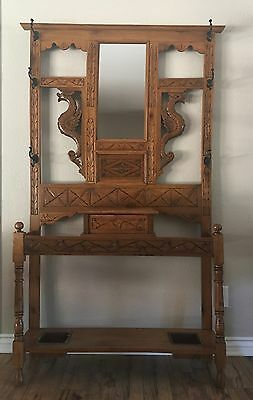 Extremely Rare Solid Oak carved dragon Victorian hall tree circa 1890