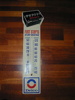 Vintage Delco Battery Thermometer Advertising Sign - 1970's - Works!