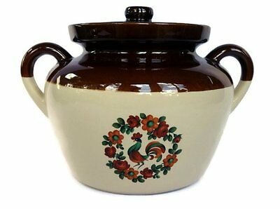 McCoy #342 Vintage Crock Chicken and Flowers Lidded Ovenproof Holds 10+ Ounces