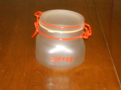 Vintage Per Alimenti only glass Italy Coffee Cannister retro art deco red wire.