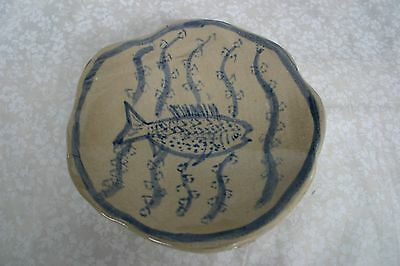 Pottery Fish Footed Bowl Hand Rolled, Textured, & Painted / Signed WIL