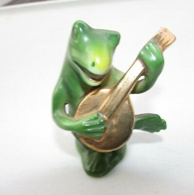 "Vintage Porcelain Bisque Frog Miniature Playing Guitar 3"" Hand Paint"
