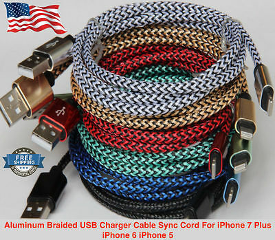 Aluminum Braided USB Charger Cable Sync Cord For iPhone 7 Plus iPhone 6 iPhone 5