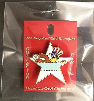 1984 Olympic Sam The Eagle Mascot Olympic Swimming Cloisonne Pin