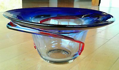Hand Blown Large Art Glass Bowl Blue with Dramatic Red Swirl