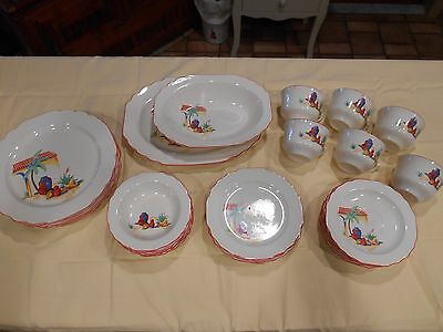 SALE NOS? VTG  32 pc dish set WS George canarytone Lido SW Mexican southwest 51