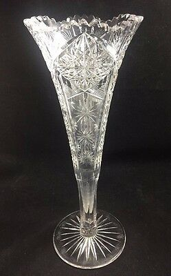 "ABP MAPLE CITY Cut Glass Crystal DOLPHIN Pattern 12"" Trumpet Vase"