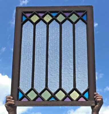 Antique Stained Florentine Privacy Glass Window Cottage Chic Vtg Old 437-17E