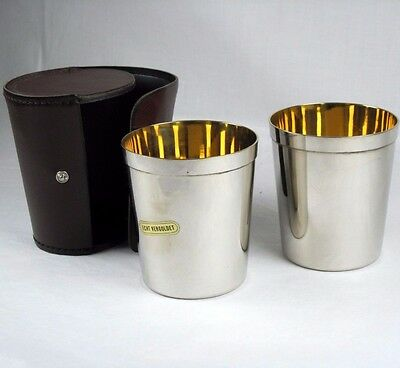 Gold Lined Chromed Metal Travel Cups In Leather Case Made in Western Germany