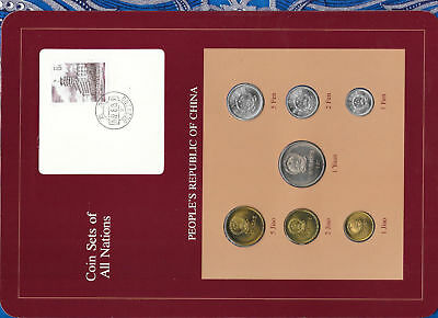 Coin Sets of All Nations China w/card 1978-1982 UNC Yuan & Jiaos 1981 2 Fen 1978