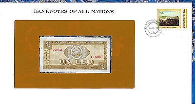 Banknotes of All Nations Romania 1 Leu 1966 UNC P91 Serie A.0033
