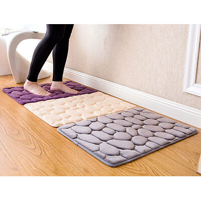 40x60cm Nonslip Carpet Floor Pebble Flannel Bathroom Bath Rug Tub Foam Mat