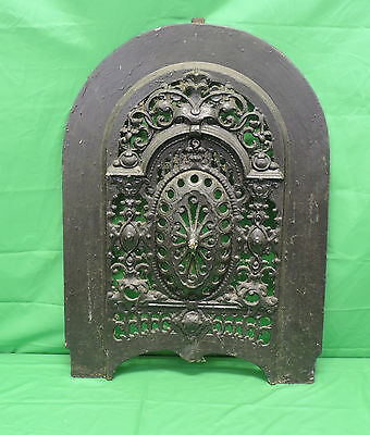 Fabulous Antique Cast Iron Ornate Fireplace Cover Round Arched Design 27 X 19.75