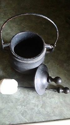 Antique footed Cast Iron Cauldron Smudge Pot with cast iron wand and lid
