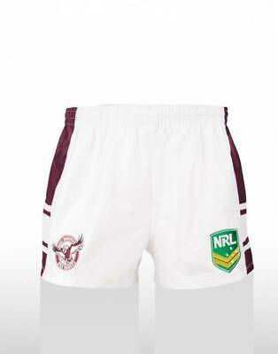 Manly Sea Eagles NRL Supporters Home On Field Footy Shorts Adult & Kids Sizes!