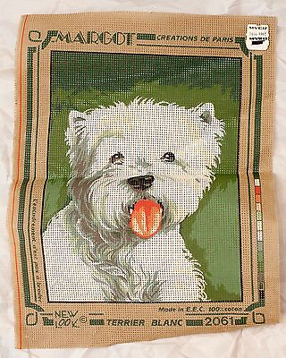"Margot Creations De Paris Unworked Tapestry Canvas  White ""Terrier"" Dog"