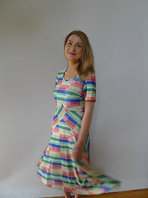 Vintage true 1970s L 16 green striped midi dress NWOT